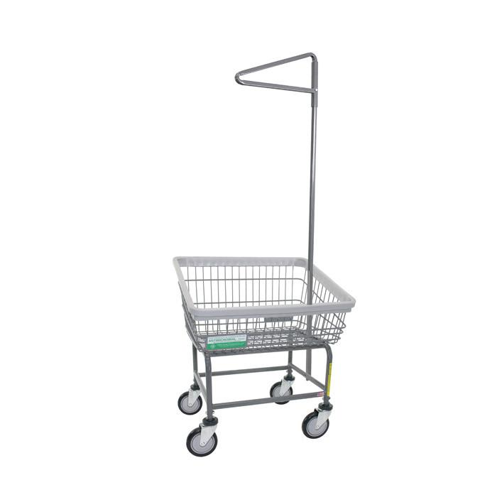 Antimicrobial Front Load Laundry Cart w/ Single Pole Rack