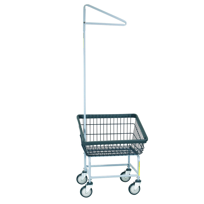 Dura-Seven™ Front Load Wire Laundry Cart w/ Single Pole Rack