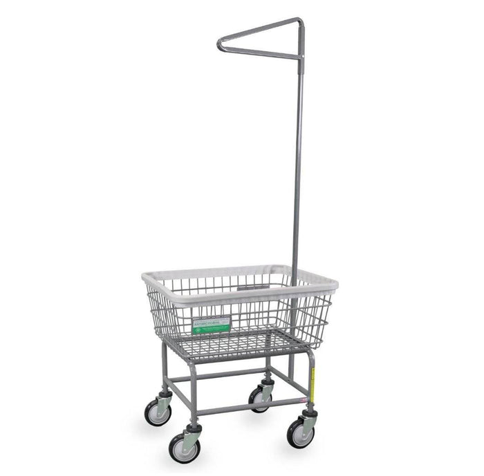 Antimicrobial Narrow Laundry Cart w/ Single Pole Rack