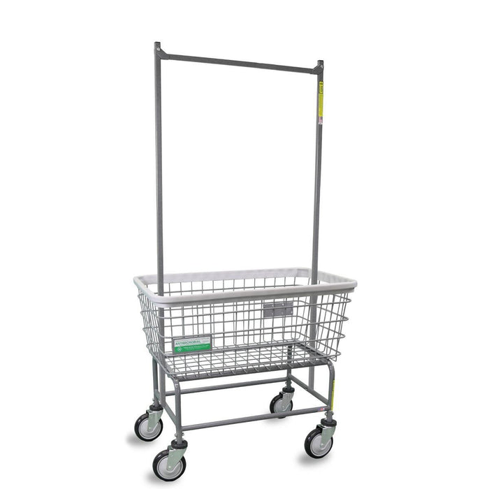 Antimicrobial Large Capacity Laundry Cart w/ Double Pole Rack