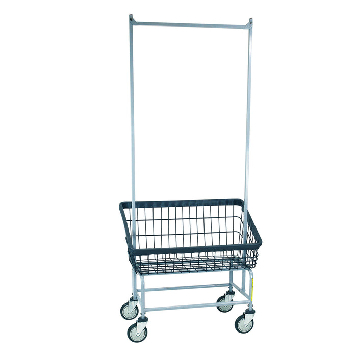 Dura-Seven™ Large Front Load Wire Laundry Cart w/ Double Pole Rack