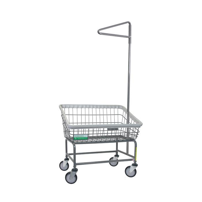 Antimicrobial Large Capacity Front Load Laundry Cart w/ Single Pole Rack