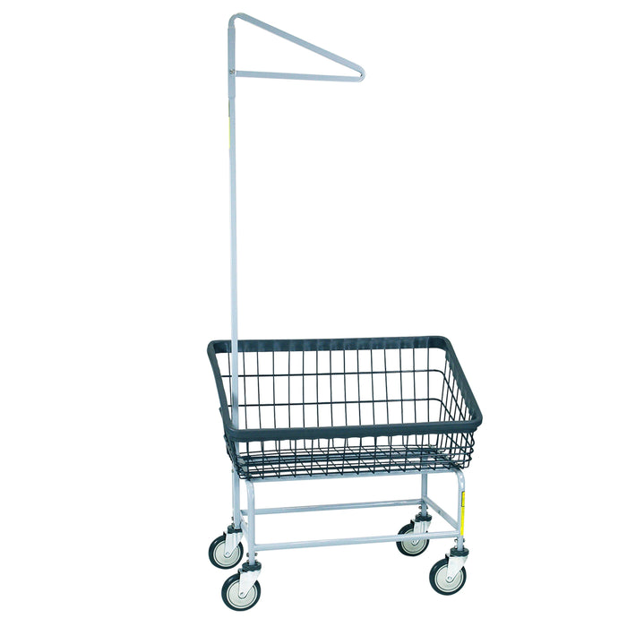 Dura-Seven™ Large Front Load Wire Laundry Cart w/ Single Pole Rack