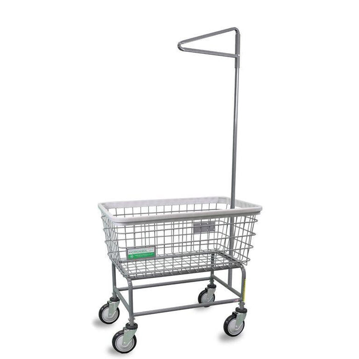 Antimicrobial Large Capacity Laundry Cart w/ Single Pole Rack