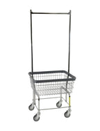 Economy Laundry Cart W/ Double Pole Rack