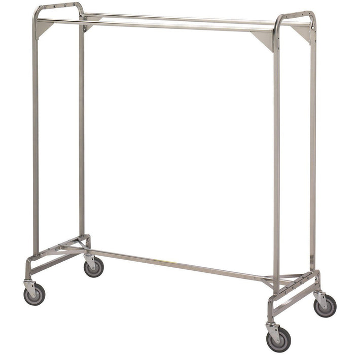 rolling industrial double rail clothes rack