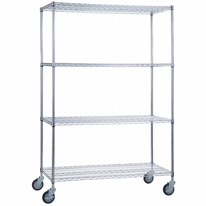 Linen Cart 24 x 48 x 68 With Wire Shelves - SHORT