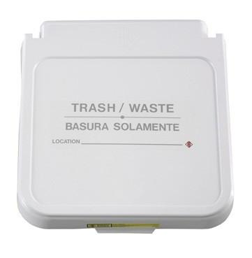 Receptacle Label, Trash / Waste - Gray Lettering, Pack of 5