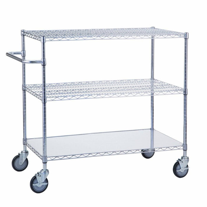 "Triple Shelf Utility Cart w/ Solid Bottom 24"" x 36"""