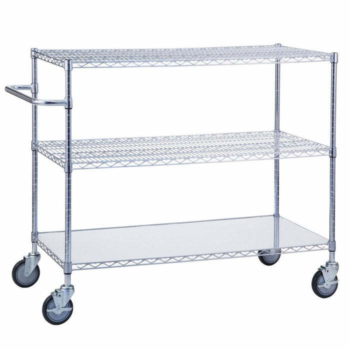 "Triple Shelf Utility Cart w/ Solid Bottom 18"" x 48"""