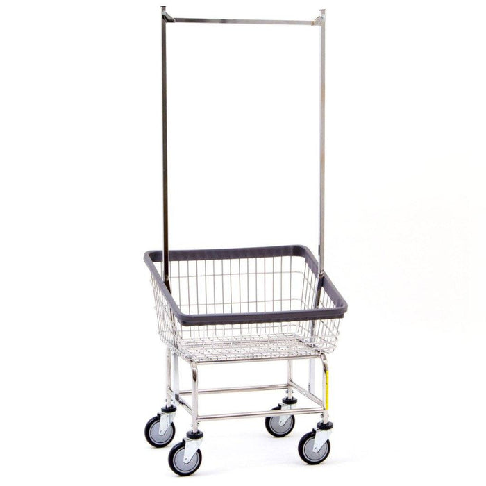 Front Load Laundry Cart w/ Double Pole Rack