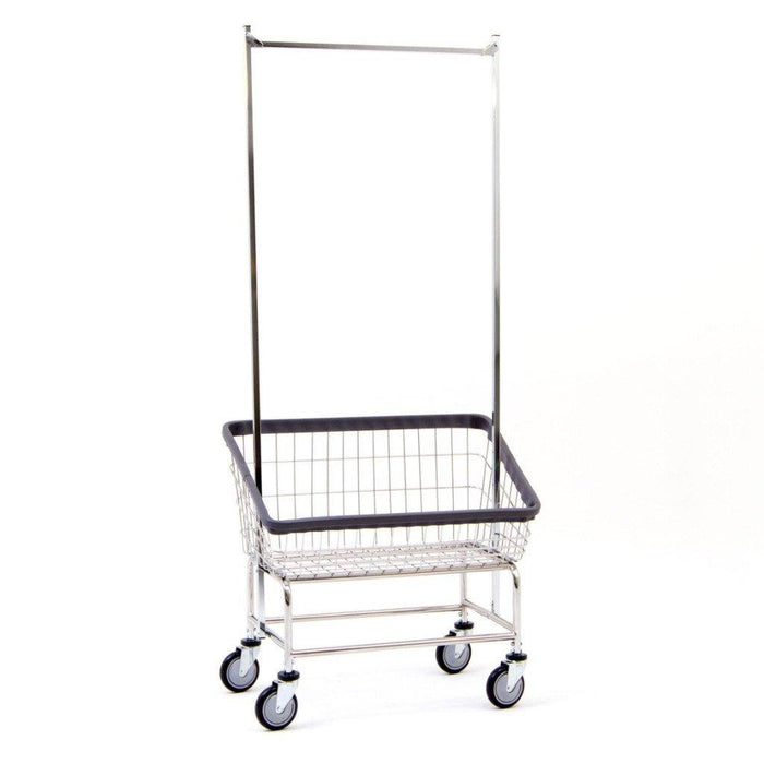 Large Capacity Front Load Laundry Cart w/ Double Pole Rack