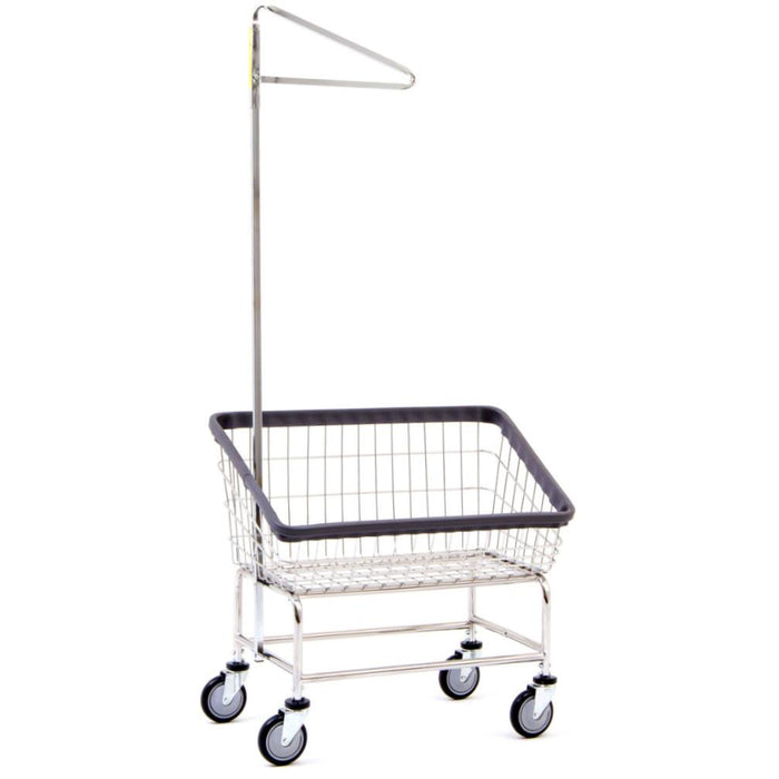 Large Capacity Front Load Laundry Cart w/ Single Pole Rack