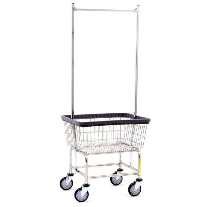 Narrow Laundry Cart W/ Double Pole Rack | R&B Wire