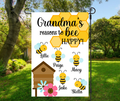 Grandma's BEE Happy Garden Flag