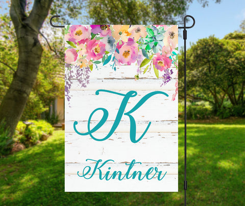 Floral Waterfall Name and Initial Garden Flag