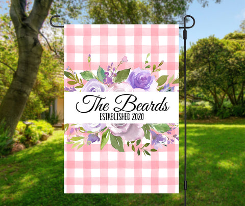 Floral Buffalo Plaid Garden Flag