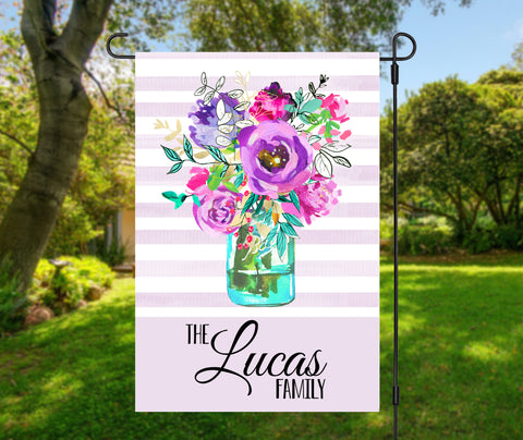 Watercolor Flower Vase Garden Flag