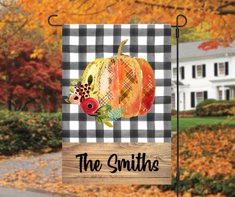 Buffalo Plaid Pumpkin Fall Garden Flag