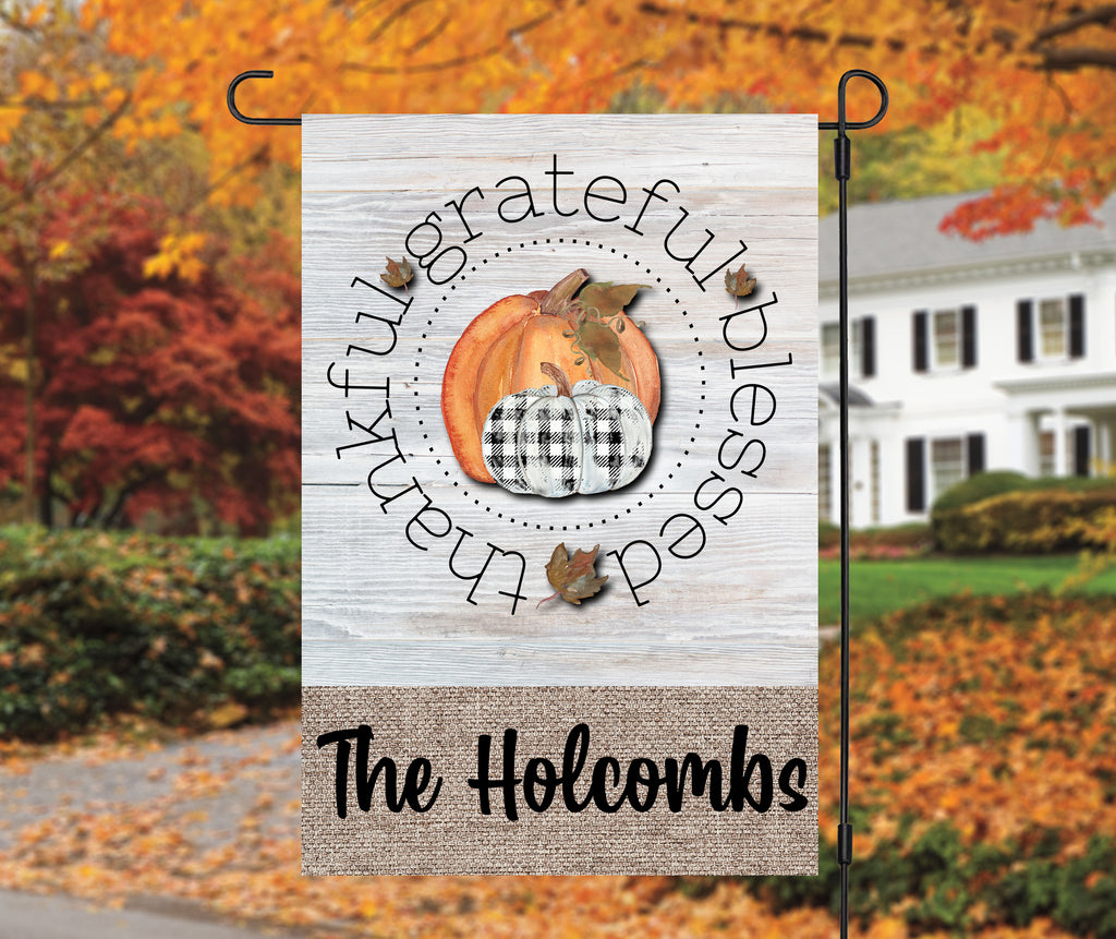 Grateful Thankful Blessed Fall Garden Flag