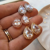 Crystal Teardrop Stud Earrings
