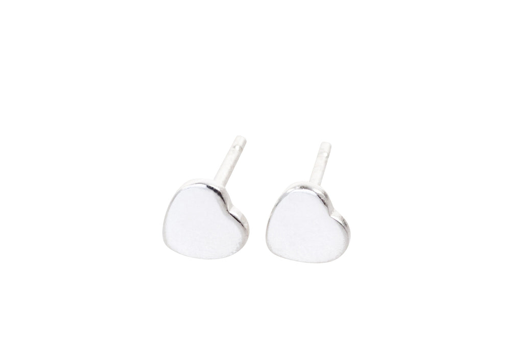 sterling silver heart shaped earring studs with butterfly backs
