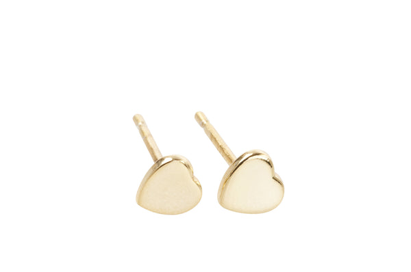 Sterling silver gold plated heart shaped earrings with butterfly studs