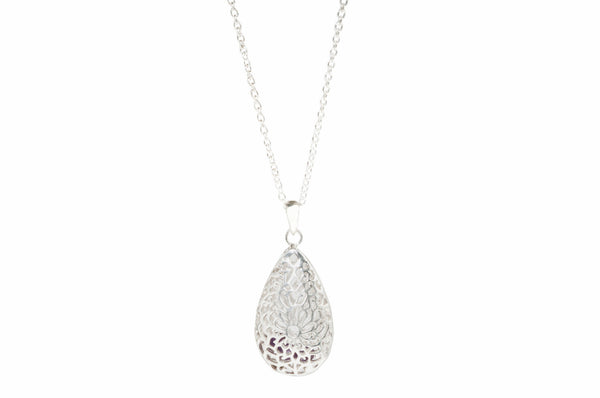 Sterling Silver teardrop filagree pendant with purple gemstones silver chain with lobster clasp