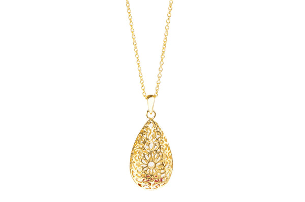 Filagree silver gold plated necklace tear drop pendant beautiful gift for those who love timeless and elegant jewellery