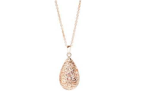Sterling silver with Rose Gold plating filagree handmade teardrop pendant with chain and lobster clasp. Timeless and elegant jewellery gifts