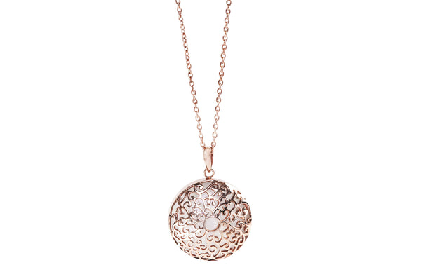 Large sterling silver rose gold 18 carat plated pendant with rainbow moonstone hanging on a 32 inch chain