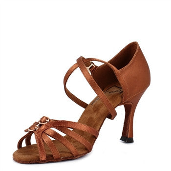 New Sunrise Tan Satin Salsa Shoes