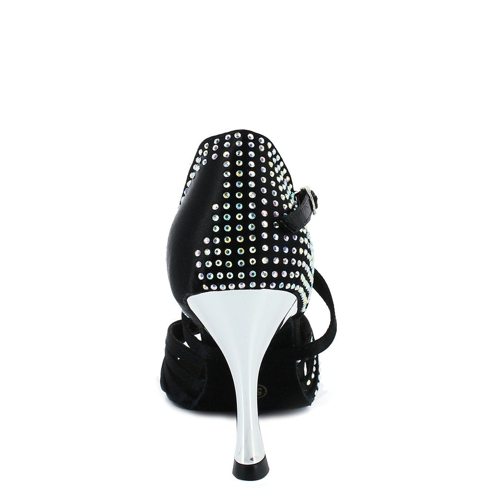 salsa rhinestone dance shoes heels black satin