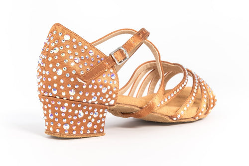 Charm Tan Satin Rhinestone Low Heel Dance Shoes
