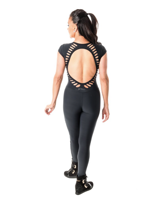 Premium Black Jumpsuit with Sleeves | Compression Fitness Wear | Palisa Dance Boutique