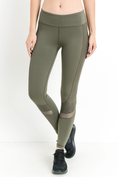 Moto Glide Mesh Full Leggings Olive