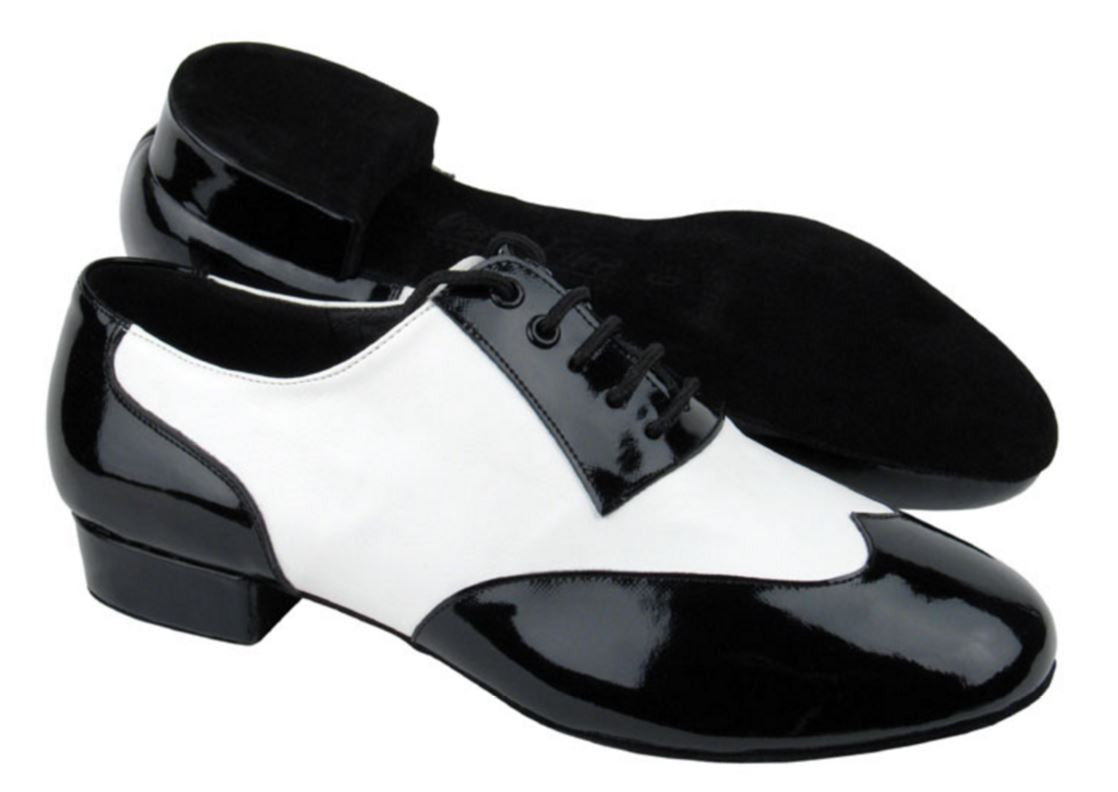 Men's Classic Black Patent on White Leather Mambo Shoes