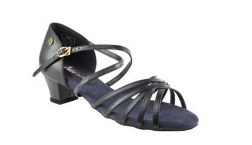 Competitive Dancer Black Leather Swing Sandal