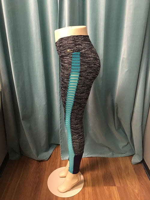 Grey Turquoise and Purple Compress Yoga Leggings