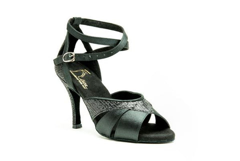 2829 Limited Edition Stiletto Black Satin with Black Leather Trim Salsa Dance Shoes