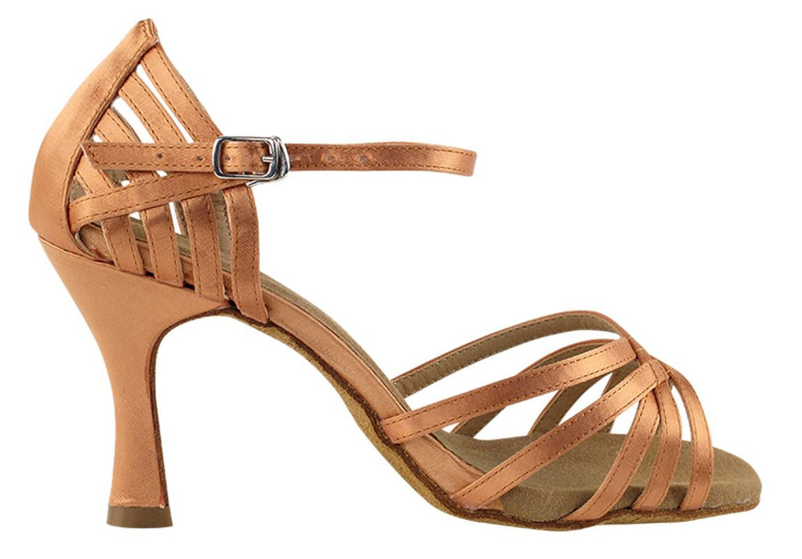 Lines Brown Satin Salsa Dance Shoes