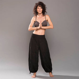 Gauze cotton, handmade yoga pants in black. Flexible waistband, natural fiber. These pants are super comfortable.