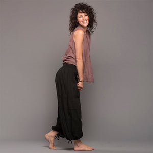 Gauze Cotton Yoga Pants BLACK