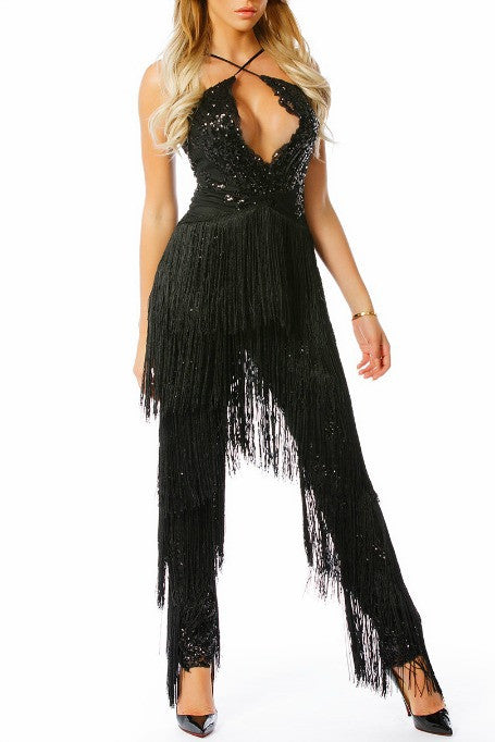 4cc318b80df2 Riley - Sequin Fringe Jumpsuit - Black. Free Gift · Gigi The Label