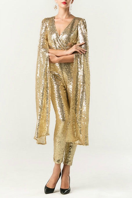 2db107c7454 Naiya - Sequin Cape Sleeve Jumpsuit - Gold