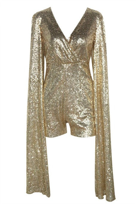 05500cdfd8 Naiya - Sequin Cape Sleeve Playsuit - Gold – Gigi The Label