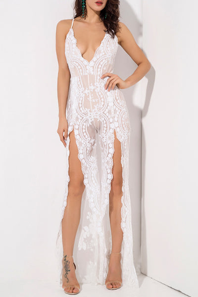 6ef7c815264f Reene - Sequin Lace Jumpsuit - White. Free Gift · Gigi The Label