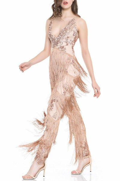 4a736af1f041 Riley - Sequin Fringe Jumpsuit - Rose Gold. Free Gift · Gigi The Label