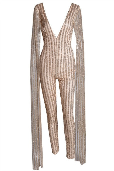735fead82b Rozay - Cape Sleeve Jumpsuit - Gold – Gigi The Label