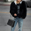 The Black Feather Fur Bomber Jacket